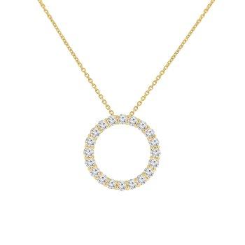 1ct tw NewBorn Lab Created Diamond Circle Necklace in 14K Yellow Gold