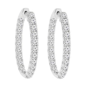 1ct tw NewBorn Lab Created Diamond Hoop Earrings in 14K White Gold