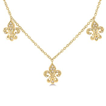 1/8ct tw Diamond Fleur De Lis Necklace in 10K Yellow Gold