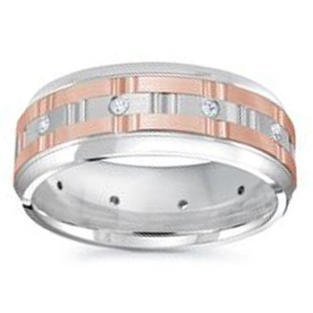 1/8ct tw Diamond Wedding Ring in 14K White & Rose Gold