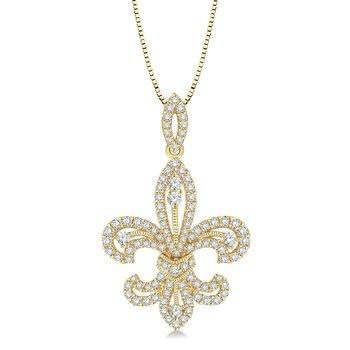 9/10ct tw Diamond Fleur De Lis Pendant in 14K Yellow Gold