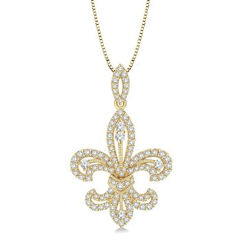 9/10ct tw Diamond Fleur De Lis Pendant in 14K Yellow Gold