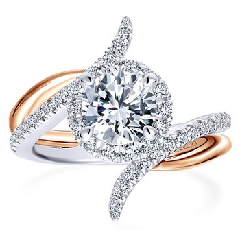 5/8ct tw Diamond Halo Engagement Ring Setting in 14K White & Rose Gold