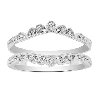 1/10ct tw Diamond Wedding Ring Guard in 14K White Gold