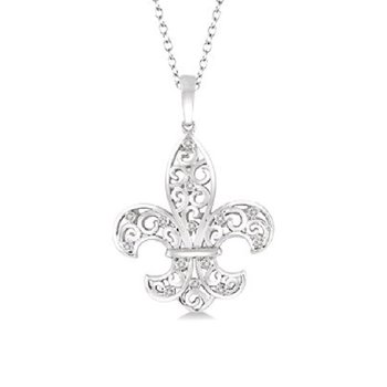 .04ct tw Diamond Fleur De Lis Necklace iin Sterling Silver