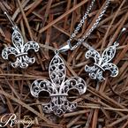 .04ct tw Diamond Fleur De Lis Necklace iin Sterling Silver