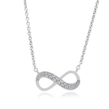 1/8ct tw Diamond Infinity Necklace in Sterling Silver & Platinum