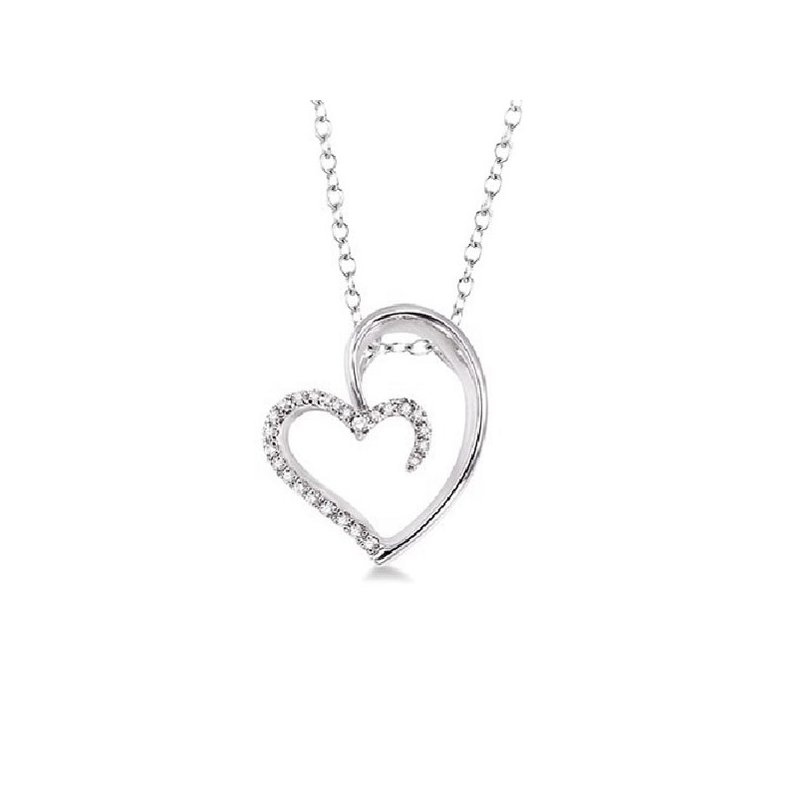 1/10ct tw Diamond Heart Necklace in Sterling Silver