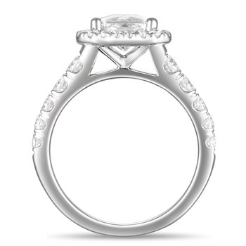 3 3/4ct tw Diamond Halo Engagement Ring in 14K White Gold