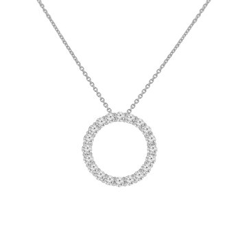 1ct tw NewBorn Lab Created Diamond Circle Necklace in 14K White Gold