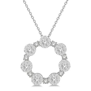 1ct tw Diamond Thousand Points of Light Circle Necklace in 14K White Gold