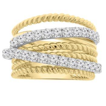 1 1/2ct tw NewBorn Lab Created Diamond Fashion Ring in 14K White & Yellow Gold