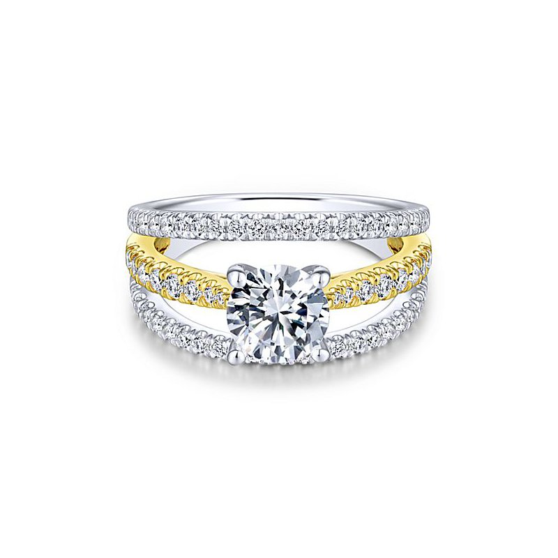 5/8ct tw Diamond Engagement Ring Setting in 14K Yellow & White Gold