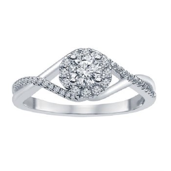 1/3ct tw Ramsey's 81 Diamond Engagement Ring in 14K White Gold
