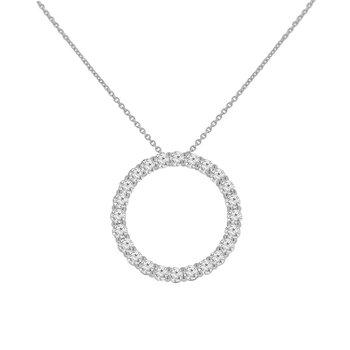 1 7/8ct tw NewBorn Lab Created Diamond Circle Necklace in 14K White Gold