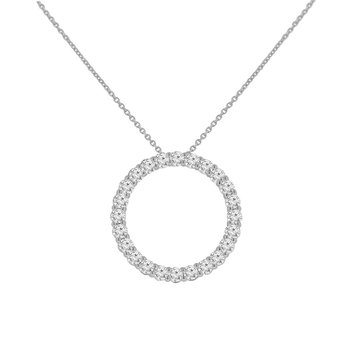 1 7/8ct tw NewBorn Lab Created Diamond Circle Necklace in 14K White Gold