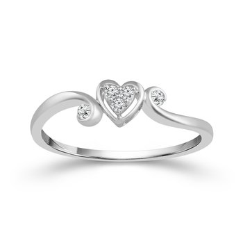 1/14ct tw Diamond Heart Promise Ring in Sterling Silver