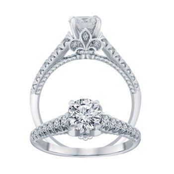 1/4ct tw Diamond Fleur De Lis Engagement Ring Setting in 14K White Gold