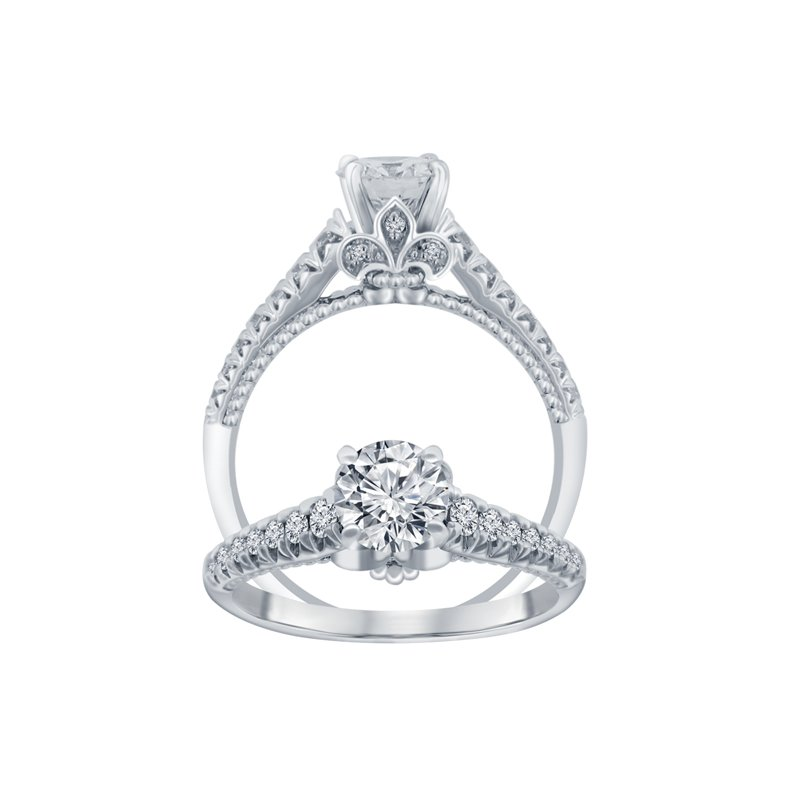 1/4ct tw Diamond Fleur De Lis Engagement Ring Setting in 14K White Gold