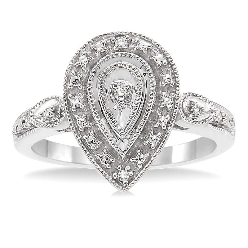 .05ct tw Diamond Halo Ring in Sterling Silver