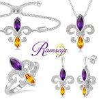 .06ct tw Diamond, Amethyst, & Citrine Fleur De Lis Bracelet in Sterling Silver