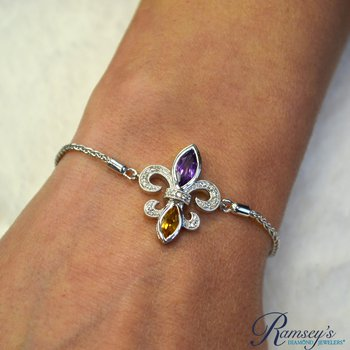 .06ct tw Diamond, Amethyst, & Citrine Fleur De Lis Bracelet in Sterling Silver
