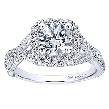 1 1/2ct tw Diamond Halo Engagement Ring in 14K White Gold
