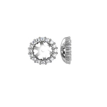 1/3ct tw Diamond Halo Earring Jackets in 14K White Gold
