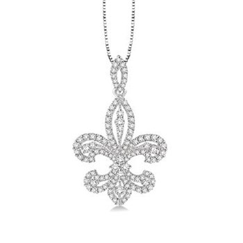 1ct tw Diamond Fleur De Lis Necklace in 14K White Gold