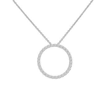 5/8ct tw NewBorn Lab Created Diamond Circle Necklace in 14K White Gold
