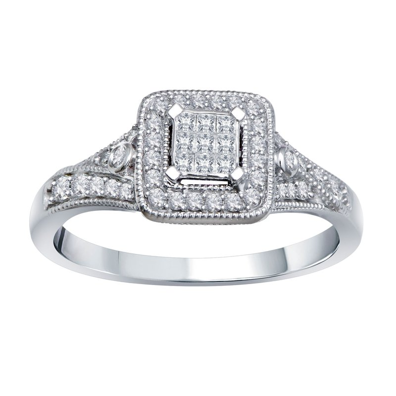 3/8ct tw Diamond Halo Fashion Ring in 10K White Gold