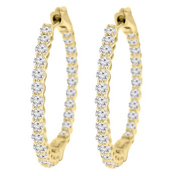 2ct tw NewBorn Lab Created Diamond Hoop Earrings in 14K Yellow Gold