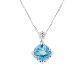 Blue Topaz Fashion Pendant in 10K White Gold
