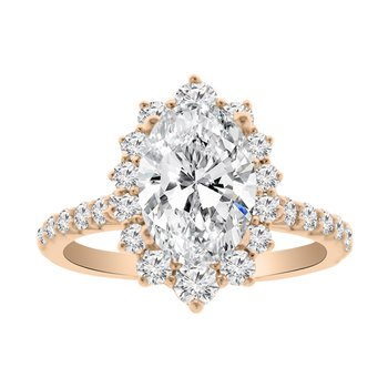 7/8ct tw NewBorn Lab Created Diamond Halo Engagement Ring Setting in 14K Rose Gold