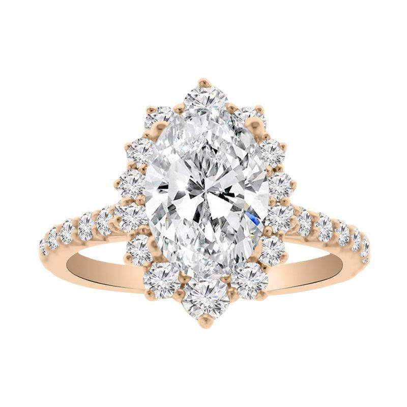 7/8ct tw NewBorn Lab Created Diamond Halo Engagement Ring Setting in 14K Rose Gold