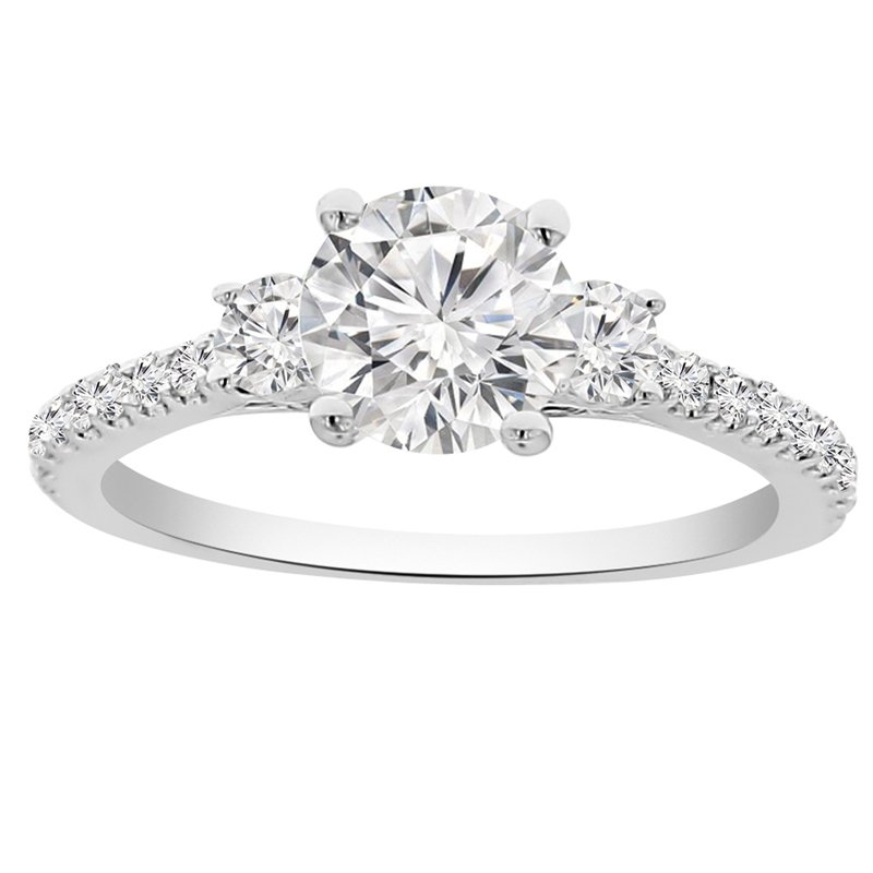 1 1/2ct tw NewBorn Lab Created Diamond Three Stone Engagement Ring in 14K White Gold