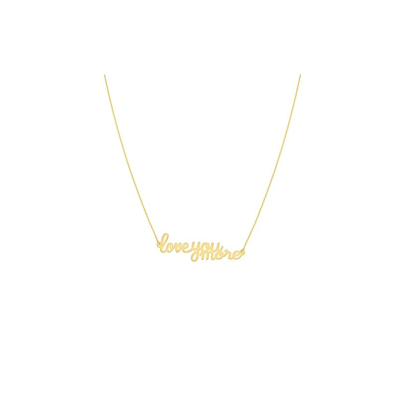 Love You More Bar Necklace in 14K Yellow Gold