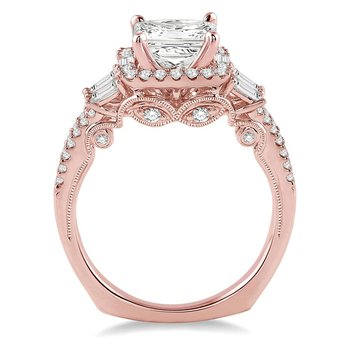 3/4ct tw Diamond Halo Engagement Ring Setting in 14K Rose Gold