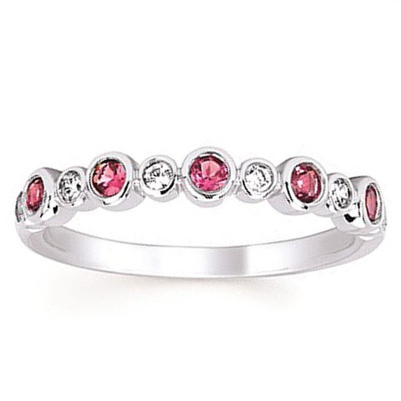 1/10ct tw Diamond & Pink Tourmaline October Birthstone Ring in 14K White Gold