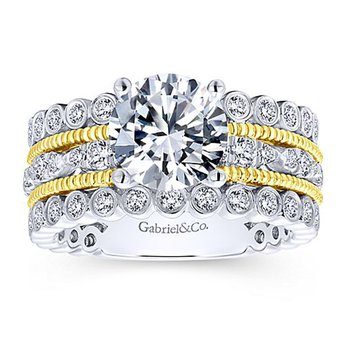 2 1/2ct tw Diamond Engagement Ring in 14K White & Yellow Gold