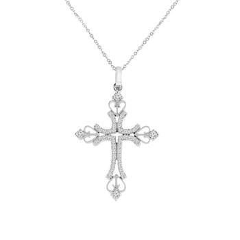 1/3ct tw Diamond Cross Necklace in 14K White Gold