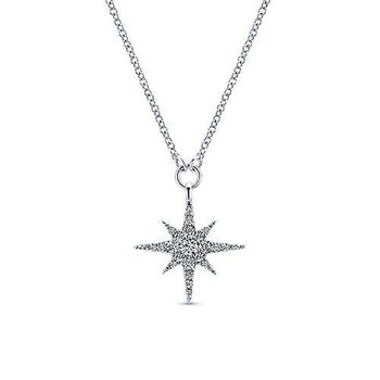 1/4ct tw Diamond Star Necklace in 14K White Gold