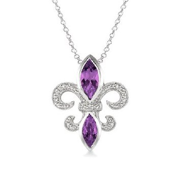 .03ct tw Diamond & Amethyst Fleur De Lis Necklace in Sterling Silver