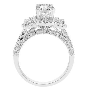 7/8ct tw Diamond Halo Three Stone Engagement Ring Setting in 14K White Gold