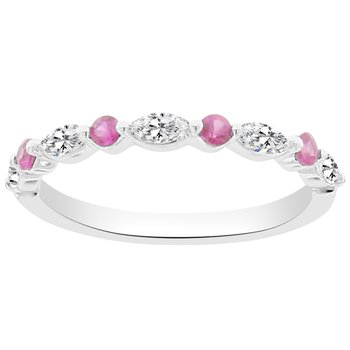 1/2ct tw Diamond & Ruby Stackable Ring in 14K White Gold