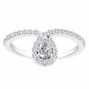 5/8ct tw Diamond Halo Fashion Ring in 14K White Gold