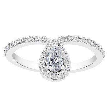 5/8ct tw Diamond Halo Fashion Ring in 14K White Gold
