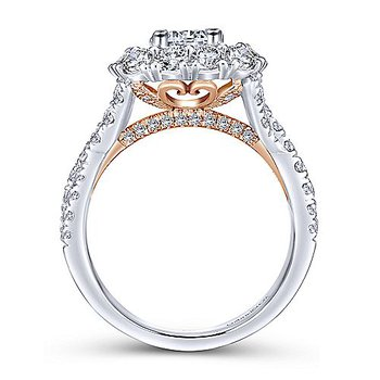 2 1/2ct tw Diamond Halo Engagement Ring in 14K White & Rose Gold