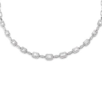 4ct tw Diamond Halo Fashion Necklace in 18K White Gold