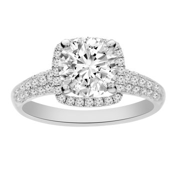 1 1/2ct tw NewBorn Lab Created Diamond Halo Engagement Ring in 18K White Gold